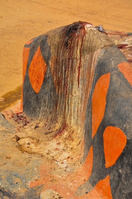Restos de un sacrificio en la entrada del Pias Palace