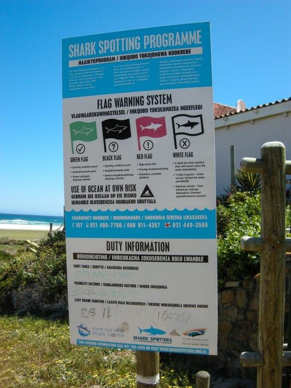 Cartel informativo sobre tiburones en Sudáfrica
